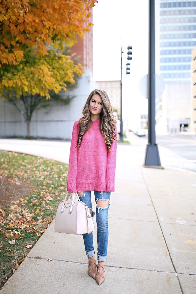 Pink sweater to wear with ripped jeans