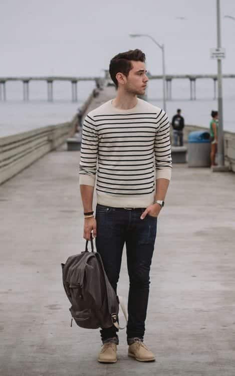 dbbde8d2fa0 Round neck sweaters are best for college guys and if you have a striped one  then that s even better. Wear it with chinos for a stylish and  sophisticated ...