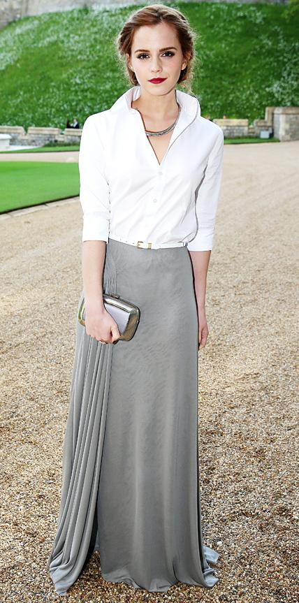 794cb8bfe2 #12- With Side Pleated Silk Skirt – Celebrities Style. White shirt outfit  ...