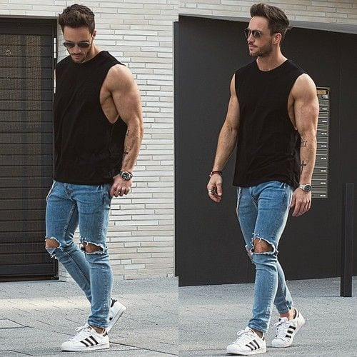 252f04b93ee You can always match your sleeveless shirt with blue denim jeans to  complete your look of fierce men! Check out these 17 Most Popular Street  Style Fashion ...