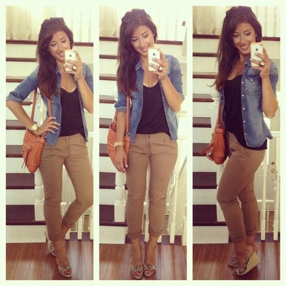 plain khaki pants outfits for women