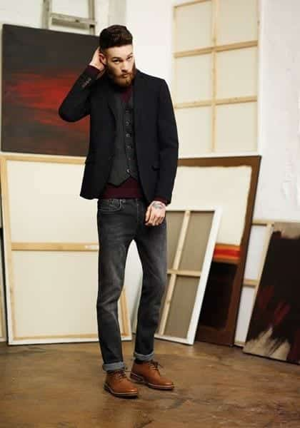 428ff47179f 20 Outfit Ideas to Wear Black Pants with Brown Shoes for Men