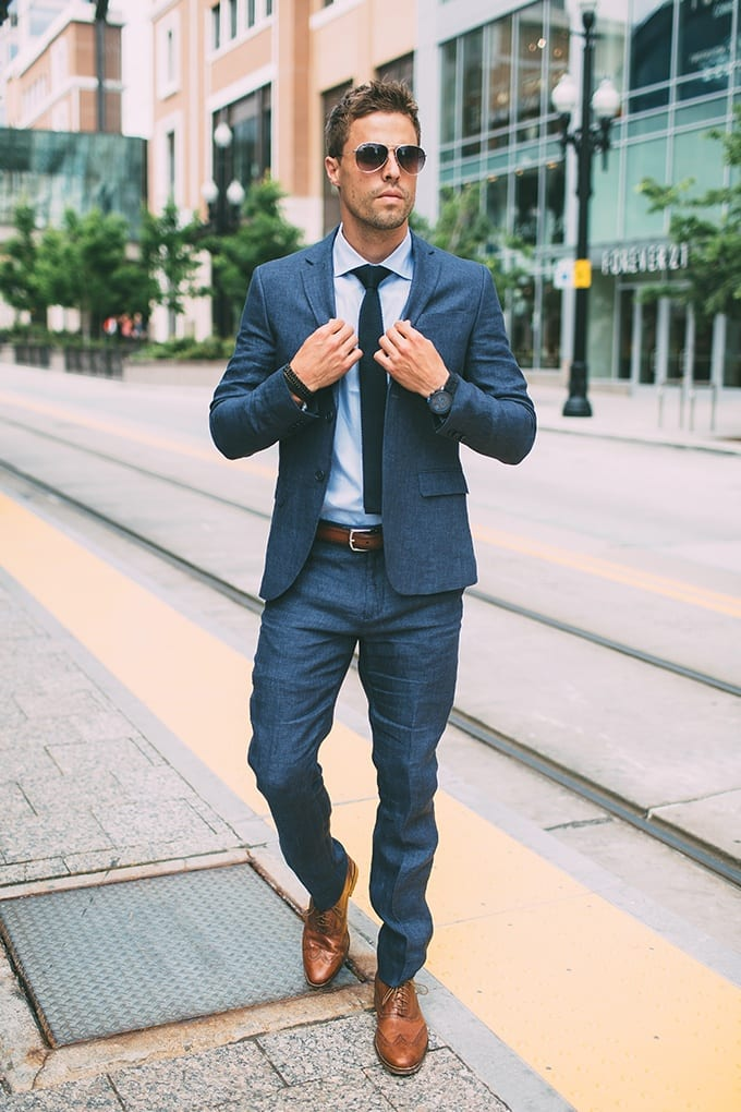 Blue Suits with Brown Shoes Ideas for Men (3)
