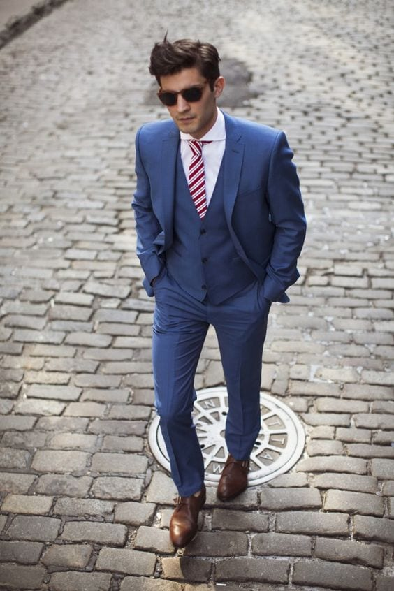 Blue Suits with Brown Shoes Ideas for Men (2)