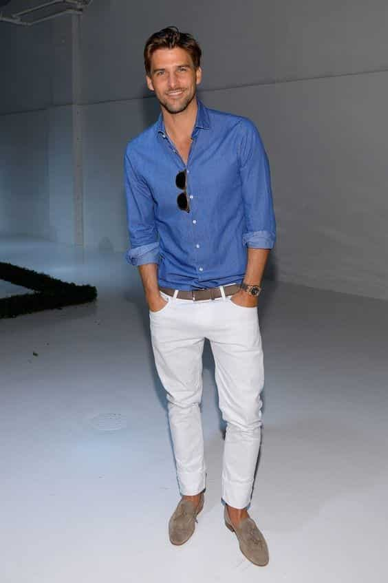 white shirt and blue jeans