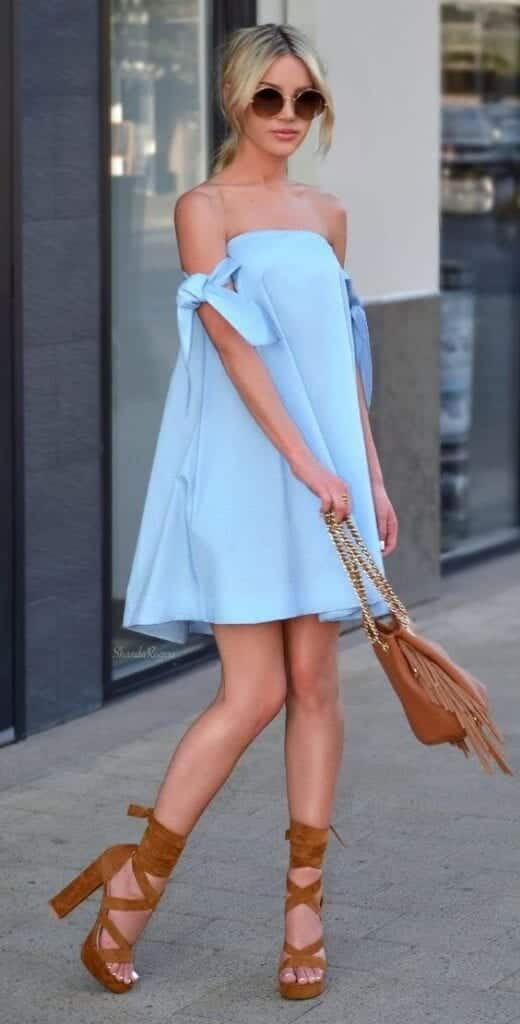 cb359ce1975 Wear this off-shoulder short frock with high block heels ankle straps.  Messy ponytail or a tight neat bun would look cute with this look. Street  Style