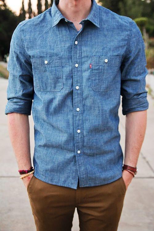 Khaki with Denim Shirt