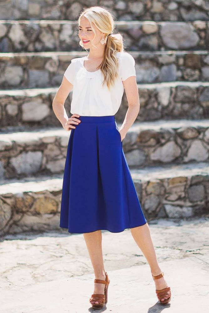 how to wear cobalt blue skirts (26)