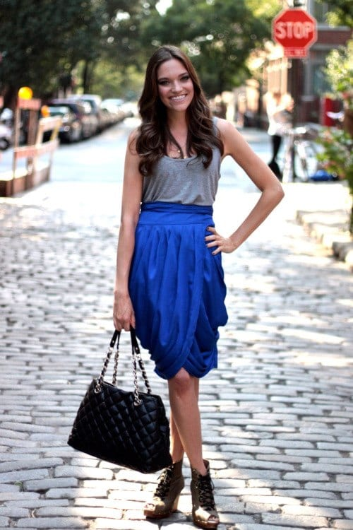 how to wear cobalt blue skirts (23)