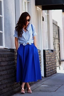 how to wear cobalt blue skirts (20)