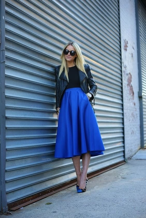 how to wear cobalt blue skirts (18)