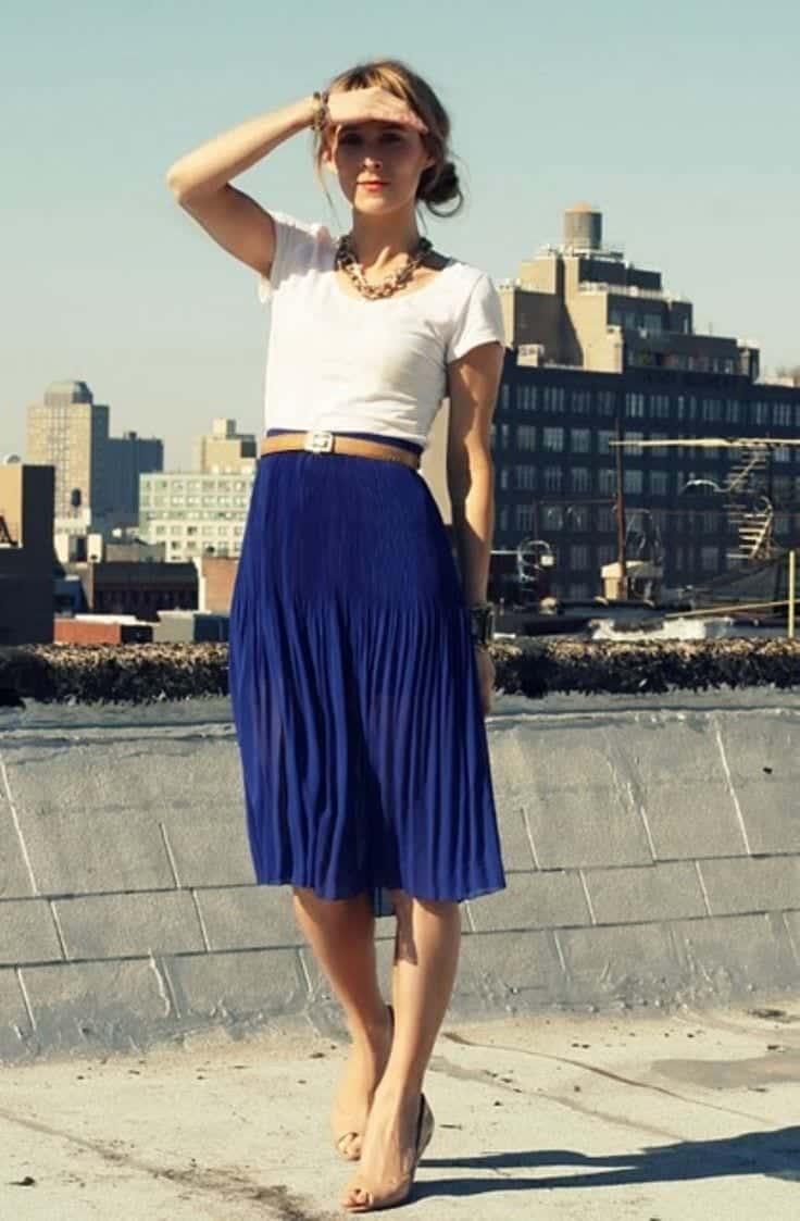 Cobalt Blue Skirt Outfits- 25 Ways to Wear Cobalt Blue Skirt