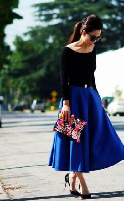how to wear cobalt blue skirts (6)