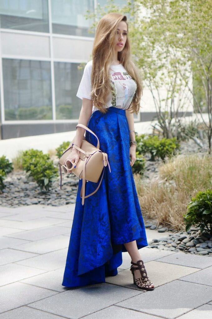how to wear cobalt blue skirts (4)