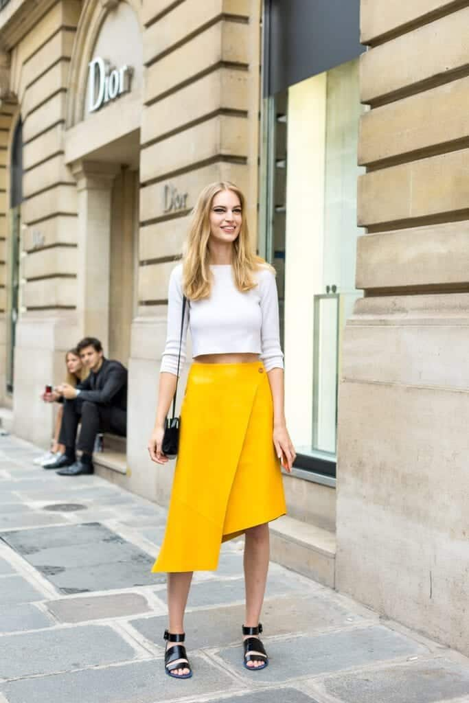 b7dd8ac9055 Yellow Skirt Outfits- 27 Ideas on How to Wear a Yellow Skirt
