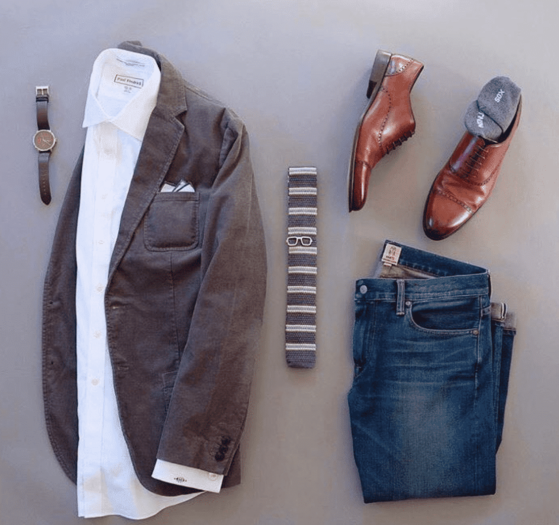 blazer outfits with brown shoes men