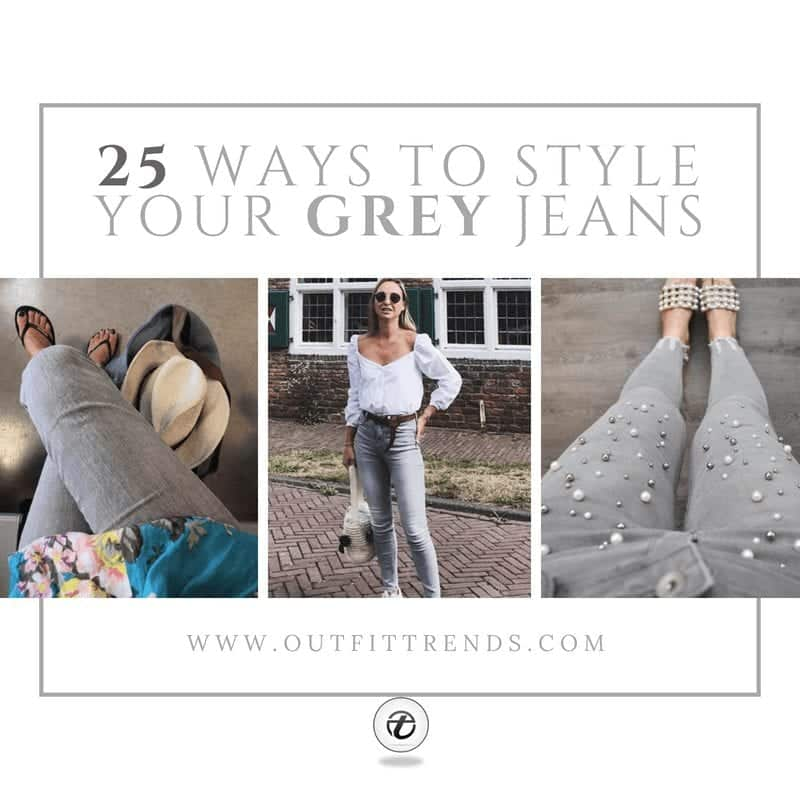 how to wear grey jeans girls