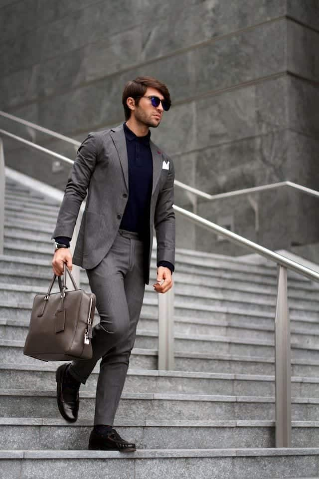 Charcoal Grey Suits with Black Shoes For Men (28)