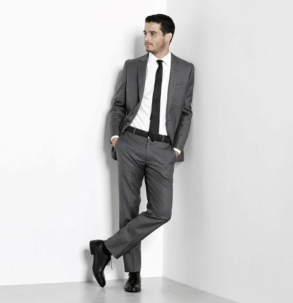 Grey Tux Black Shoes