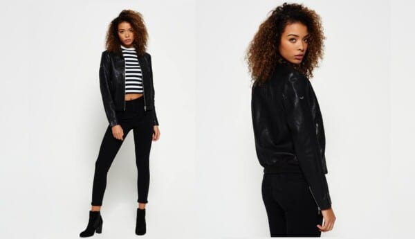 Leather bomber jacket outfits for women (6)