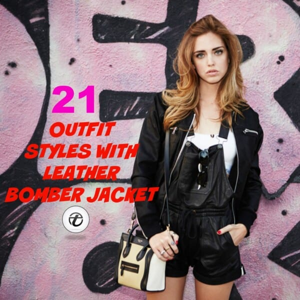 Leather bomber jacket outfits for women (2)