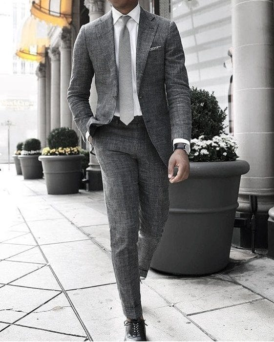 Charcoal Grey Suits with Black Shoes For Men (8)