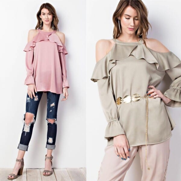 cold shoulder top outfits