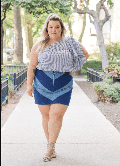 10dd61239746 18 Best Denim Skirts Outfits for Plus Size Women 2019