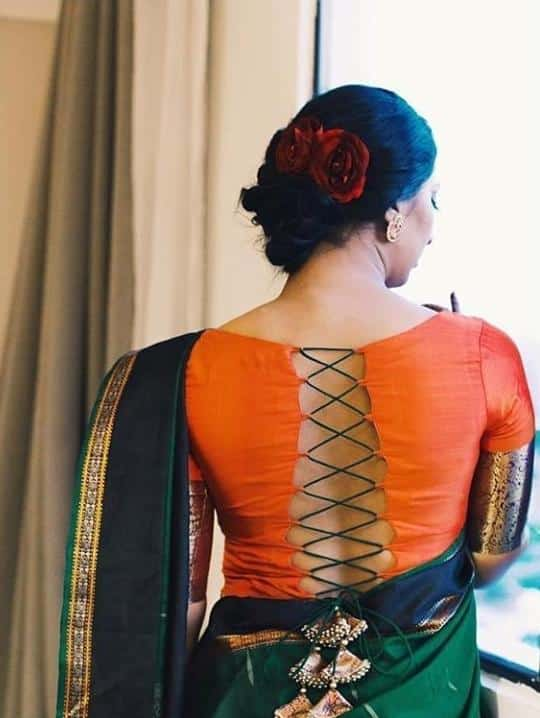 Stunning Blouse Designs For Silk Sarees (10)