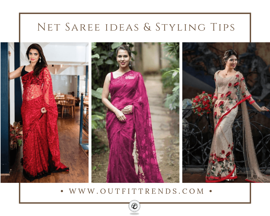 how to wear a net saree latest designs