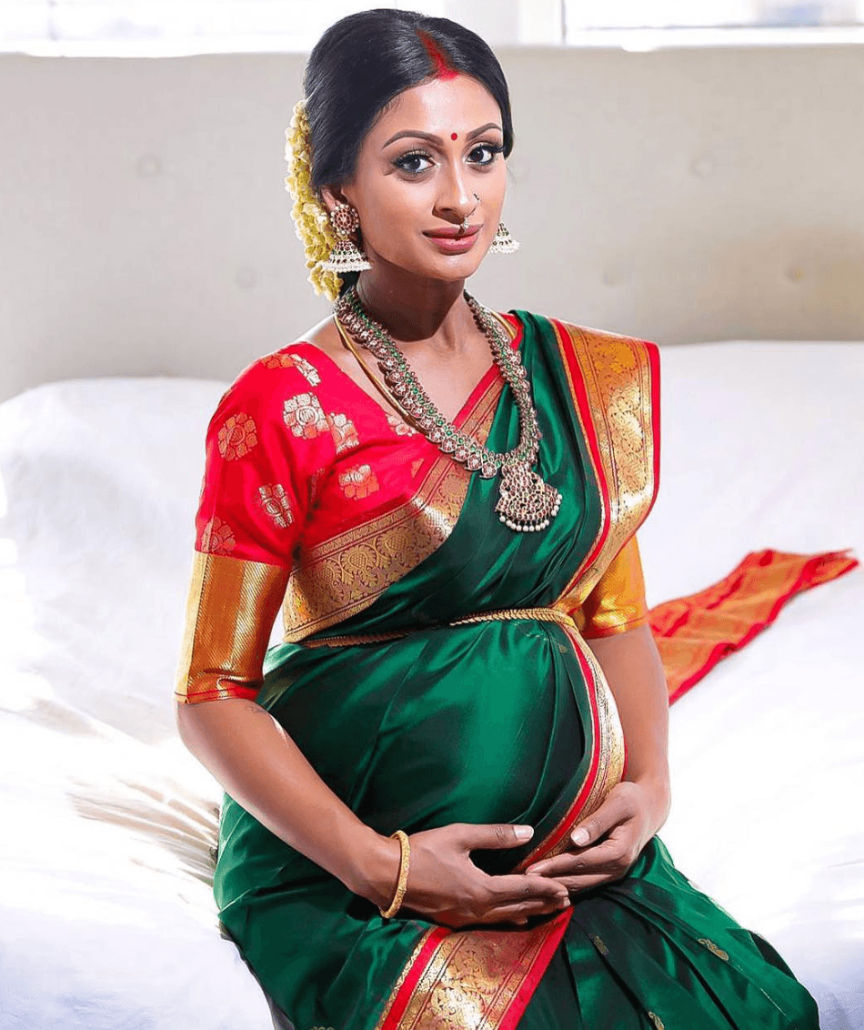 how to wear saree in pregnancy