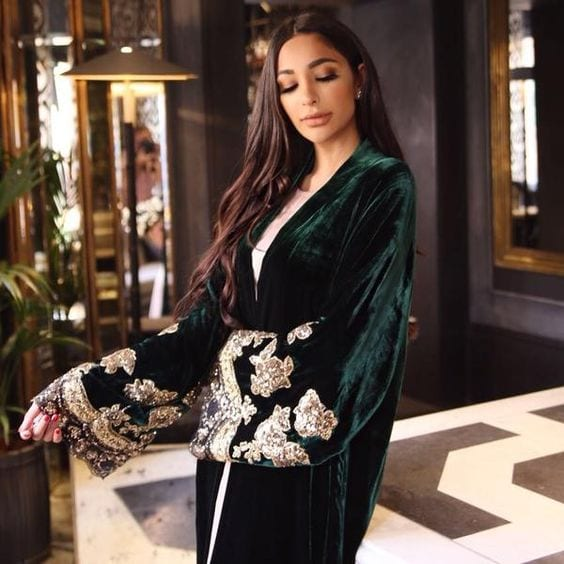 velvet abaya embroidery