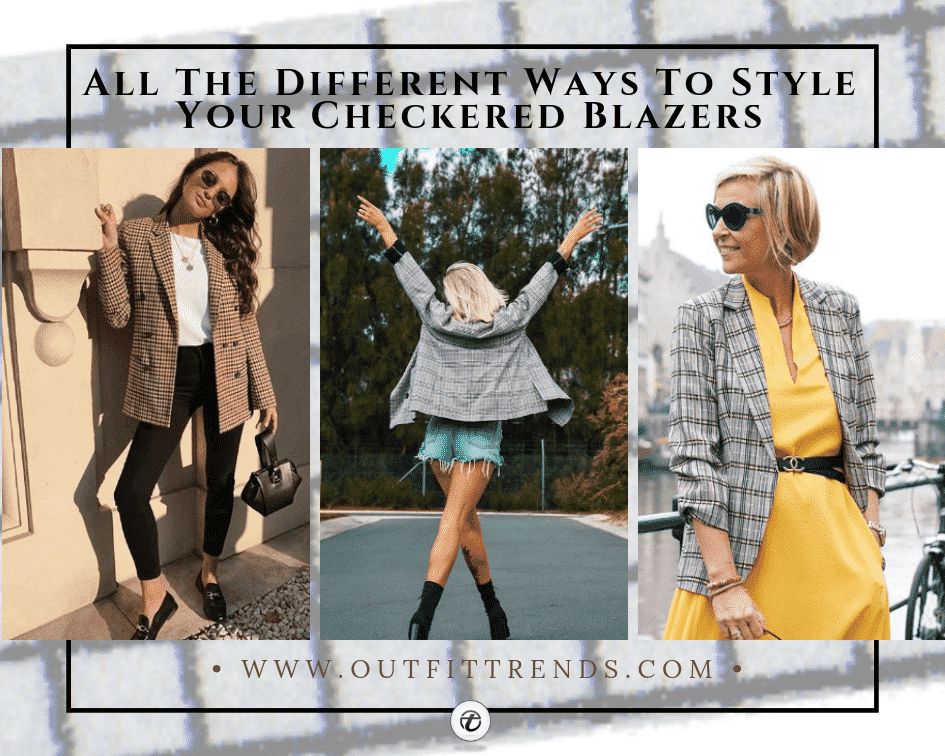 what to wear with a checkered blazer