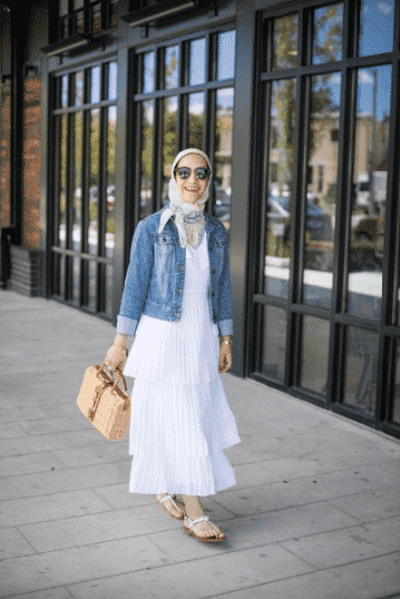how to wear hijab with denim jacket