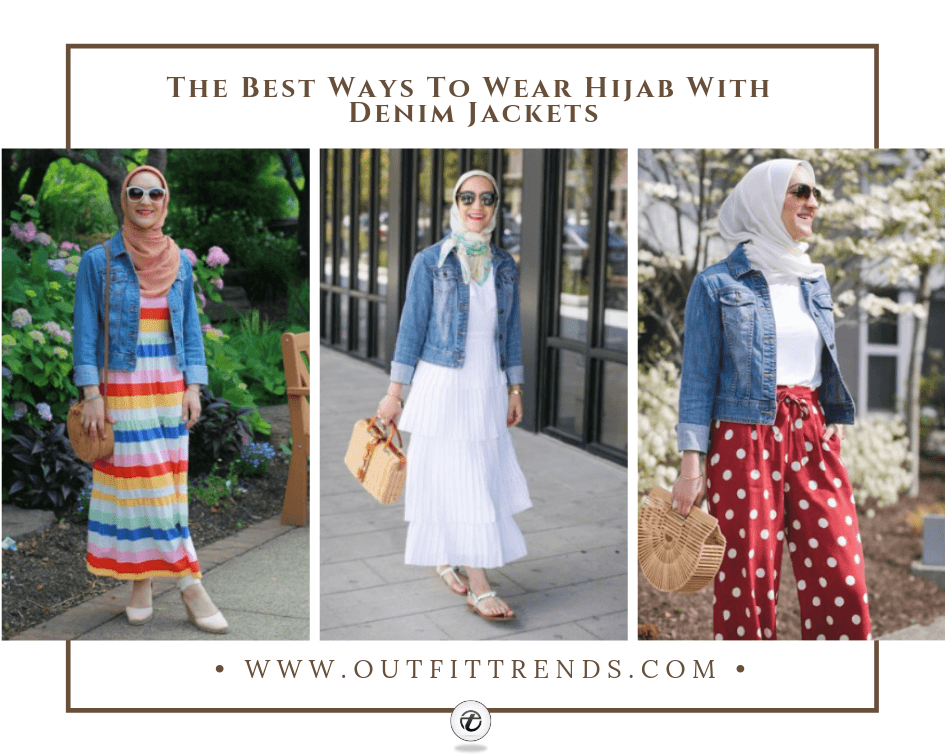 how to wear hijab with denim jackets