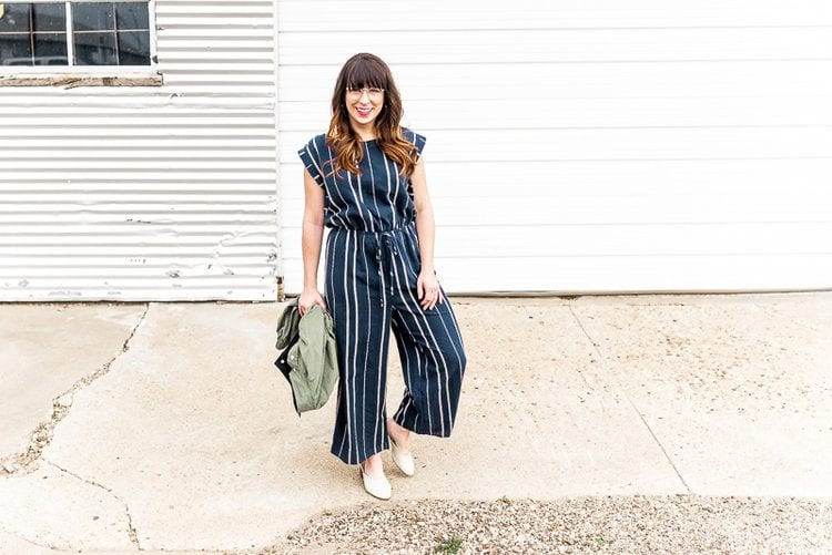 what shoes to wear with striped jumpsuit