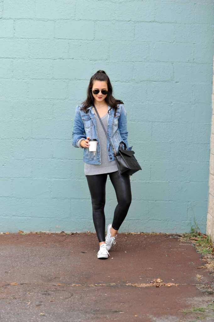 Black legging with Denim Jacket and Sneakers
